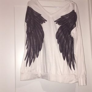 Tops - Black and white angel wing long sleeve shirt